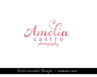 Custom Logo Design Premade Logo and Watermark Design for Photographers and Small Businesses Watercolor Script Classic Logo Shabby Chic