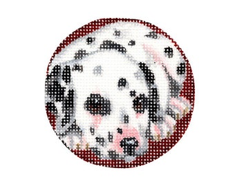 Hand Painted Round Animal Ornament - Dalmatian