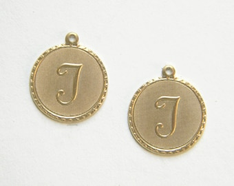 Raw Brass Letter T Charm Monogram Initial Drop 20m x 22mm - 4 pcs.  (r274)