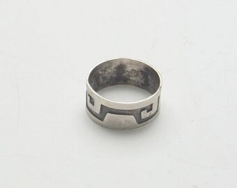 Vintage Indian Pattern 1960's Mexico Sterling Silver Fine Jewelry Band Ring Size 8 Gift For Him Or Her on Etsy