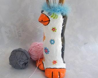 knitting needle organizer / Whimsical penguin / Black and white knitting needle case / eco friendly wool holder / Spring Celebrations