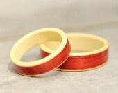 Bentwood Ring Set - Padauk and Holly Ribbon Ring - Wooden Ring - And We Plant A Tree:)