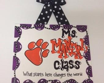 Clemson tigers Teacher Sign  classroom hanging classroom decor PERSONALIZE your own school teacher gift