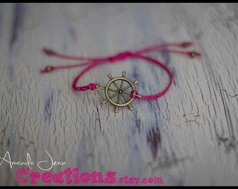 Ship Wheel Charm Bracelet - Hot Pink - Slip Knot