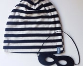 Jailbird Slouch Beanie and Mask Set, Black White Striped, Baby, Toddler, Child, Hipster