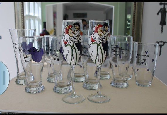 custom set of 10 bridal party champagne flute wine toasting glasses ariel and prince eric disney bride groom wedding hand painted wine