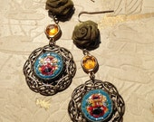 Antique button earrings -...
