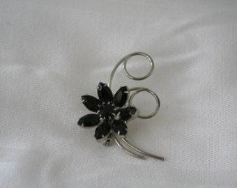 Vintage Silver and Black Rhinestone Brooch