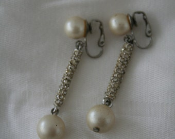 Pearl and Rhinestone Clip on Earrings