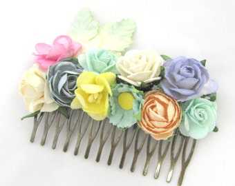 Floral Haircomb Fascinator Vintage Wedding Haircomb Bridal Bridesmaid Accessory