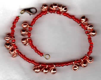 Copper and Ruby Red Dancing Bells Anklet
