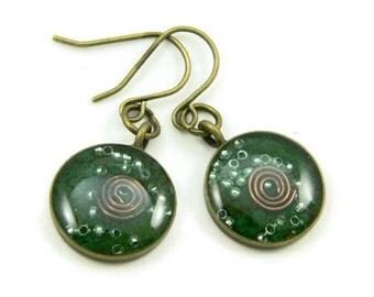 Orgone Energy Earrings - Malachite and Bronze - Small Dangle Earrings - Positive Energy Generator - Artisan Jewelry