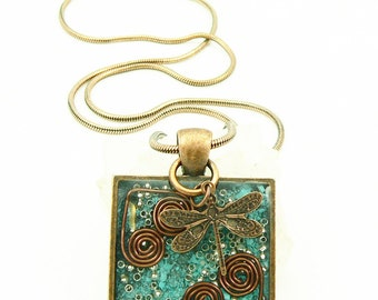 Orgone Energy Pendant - Turquoise in Copper Square - Dragonfly - Positive Energy - Artisan Jewelry