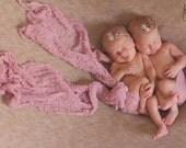 Twin Girls Tie Back Headbands...Newborn Photo Props...Baby Girl Headbands...Petite Headbands...Newborn Twins...Cheesecloth Wrap...Twins