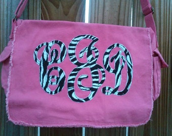 Large Raw Edge Messenger Bag or Diaper Bag with Personalized Fancy Applique Monogram