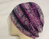 Striped slouchy beanie, unisex hat, womens hat, teen to adult size, easy care, hot pink, black and grey slouchy hat