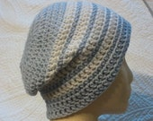 Slouchy beanie, striped blue and white, mens hat, unisex hat, womens hat, slouchy beanie, white, pale blue striped hat