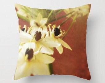 Shabby Chic Decor, Botanical Pillow, Garden Cushion, 18x18 22x22 Cushion Pillow Cover - Home Decor Throw Pillow - Floral Detail Whites Rust