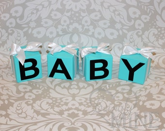 Baby Shower Decor - BABY Block Letters with Satin Ribbon