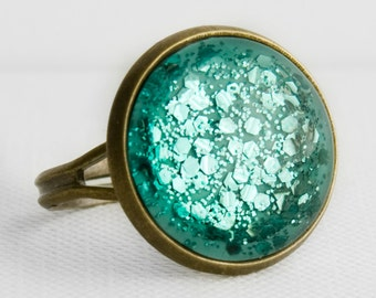 Aqua Chunky Glitter Ring in Antique Bronze - Turquoise Aqua Mixed Hexagonal Glitter Adjustable Cocktail Ring