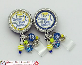 Down Syndrome Designer Retractable ID Badge Reel - Awareness Badge Clips - Beaded ID Holders - Unique Badge Reels - Badge Reel Gifts