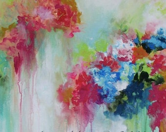 Art Print on Canvas from Original Floral Abstract  Painting- Contemporary home decor - wall art