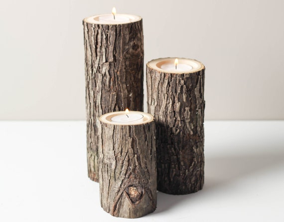 Tree branch candle holders set of 3 heights by worleyslighting for Rustic wood candle holders