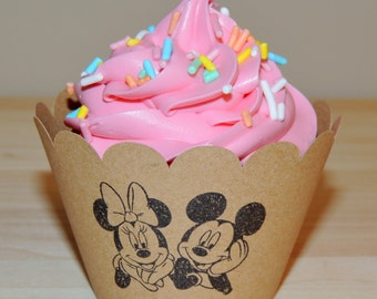 48 Cupcake Wrappers - Mickey and Minnie Mouse - Kraft (Scallop, Hand Stamped, Cardstock, Disney, Party, Birthday, Shower, Baby, Nursery)