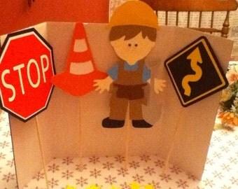 Cute Construction Worker Party Centerpiece