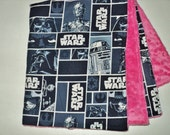 "Star Wars Baby Blanket, Security Blanket 19""X23"", Minky, Star Wars Baby Girl Or Baby Boy Lovey, Geek Baby, Baby Shower Gift, Made To Order"