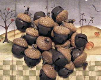 Set of 12 Acorn Bell Ornaments or Bowl Fillers - Rusty Tin Bell with Real Acorn Cap