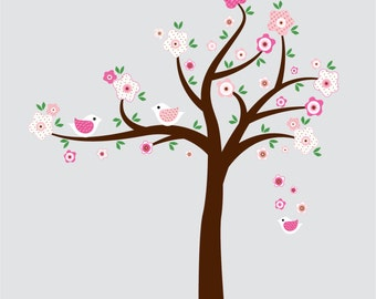 tree wall decal - Tree with birds and flowers -  nursery vinyl wall decal - - Girl tree decal