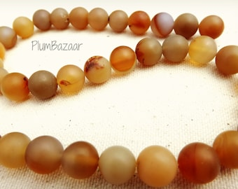 "Round agate beads, 10mm round, smooth matte finish, warm fall colors, 15"" strand"