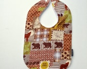Baby bib bear brown flannel Minky spring children
