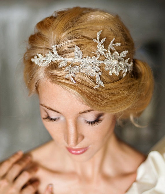 Floral Lace Headpiece For Wedding: Lace Bridal Headpiece Bridal Headband Beaded Lace Wedding