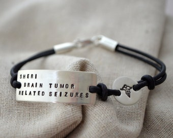 Leather Medical Alert Bracelet - Three Lines - Personalize - Customize