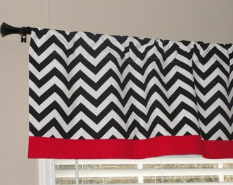 """Premier Prints Black and White Chevron Valance with Red Border 50"""" wide x 16"""" long Zig Zags Lined"""