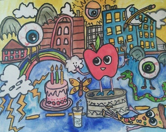 "Party of Three, original 9"" x 12"" gouache painting on watercolor paper, apple, eyeballs, pizza"
