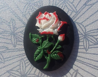 Pearl White Rose Cameo Cabochon Handmade & Hand Painted 5 Pieces Alice in Wonderland