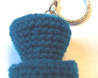 Mini top hat keyring, kingfisher blue