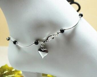 Black Onyx Anklet Heart Ankle Bracelet Black Onyx Ankle Bracelet 100% 925 Sterling Silver Anklet or Plate Buyany3+Get1Free