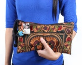 MOCHA BIRD Wristlet Clutch Hmong Embroidered Bag Hippie Handmade Fair Trade Thailand (BG810-MOB)