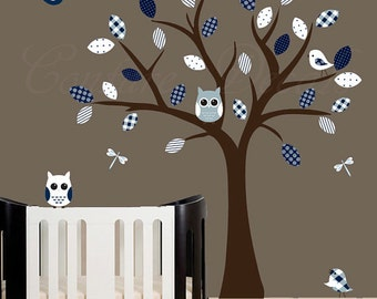 Childrens wall decal nursery wall tree decal with owl and bird decals - 0430