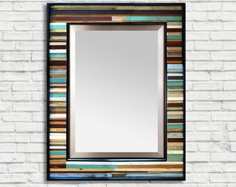 "SALE! Reg. 525.00 - Reclaimed Wood Framed Mirror - ""Reclaimed Reflection"" - 40"" x 34"" - Modern Wood Wall Art - Reclaimed Wood Mirror"
