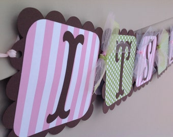 Sip and See Baby Shower Banner Brown Pink and Green Polka Dots