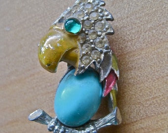 Parrot Brooch Vintage 50s Mid Century Enamel and Rhinestone Rockabilly Bright Colored Aqua Jelly Belly SHABBY CHIC
