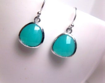 Turquoise Drop Earrings With Sterling Silver - Dangle Earrings - Glass Earrings - Turquoise Silver - Aqua