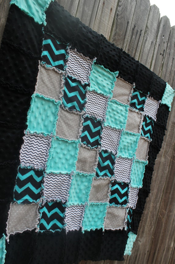 Black Aqua Amp Gray Rag Quilt Blanket Perfect Baby Shower Gift
