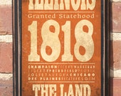 Antiqued Finish The State of Illinois Vintage Style Wall Plaque / Sign Decorative Custom Color