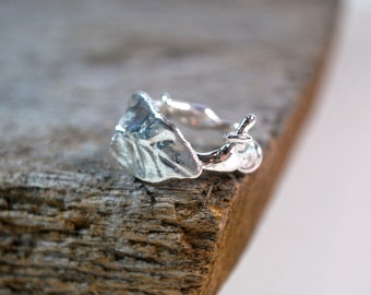 Twig Ring - Sterling Silver - Branch Ring with Leaf - Womens Ring - Boho Ring